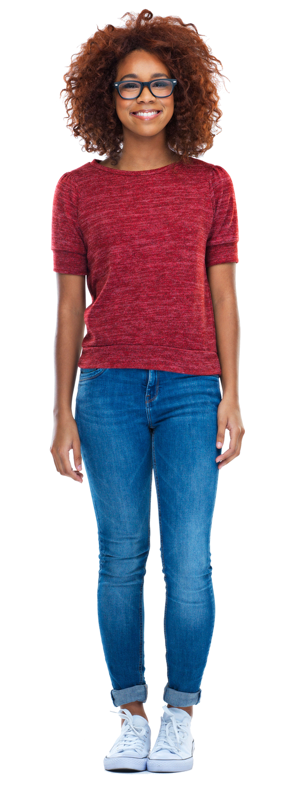 Person wearing red top and blue jeans